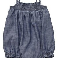 Chambray Bubble Rompers for Baby