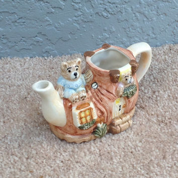 Vintage Cottage Theme Tea Pot Shaped Creamer With Teddy Bears