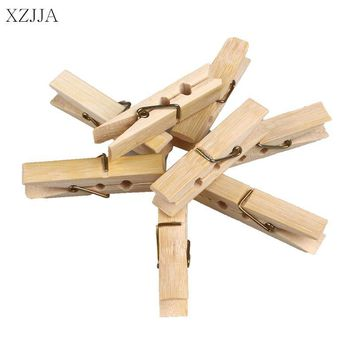 XZJJA 20Pcs Bamboo Wood Clothes Pegs Socks Bed Sheet Towel wind-proof Pins Clips Household Clothespins Arts Photo Paper Clamp