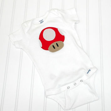 READY TO SHIP Onesuit Super Mario Mushroom by LindaSumnerDesigns