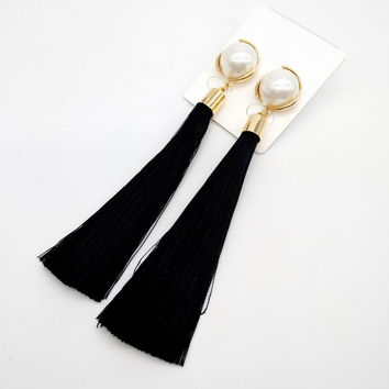 Gold Plated Simulated Pearl Tassel Earrings