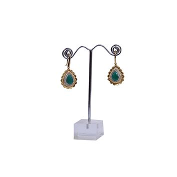 Marquise Shape Antique Emerald Gemstone Diamond Accent Hoop Earrings
