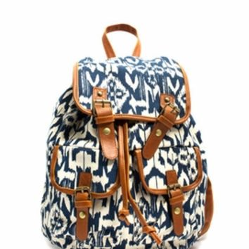 Ikat Canvas Drawstring Backpack - GoJane.com