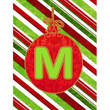 Christmas Oranment Holiday Letter M Monogram Initial Flag  House Size