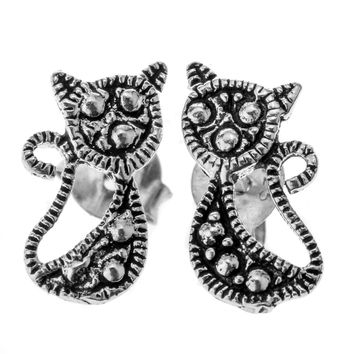 SHIPS FROM USA 925 Sterling Silver Cat Stud Earrings Halloween Party Jewelry Gift for Women Wife Her Girlfriend Daughter YCE79