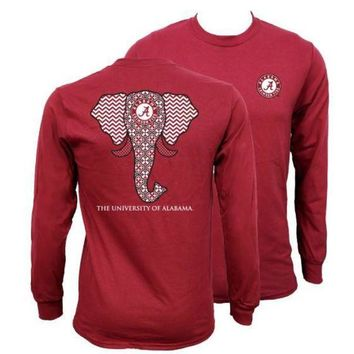 MDIGON1O Southern Couture Alabama Crimson Tide Bama Tribal Chevron Elephant Long Sleeve Girlie Bright T Shirt Day First