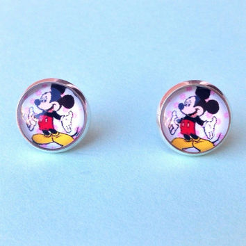 Handmade Mickey Mouse Inspired Glass Dome earrings with silver setting 12mm - Disney inspired Jewelry