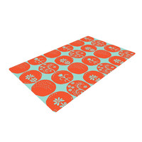 "Anneline Sophia ""Dotty Papercut Orange"" Circles Teal Woven Area Rug"