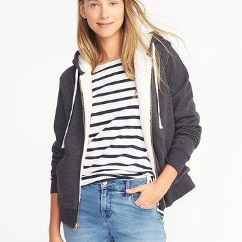 Relaxed Sherpa-Lined Fleece Hoodie for Women |old-navy