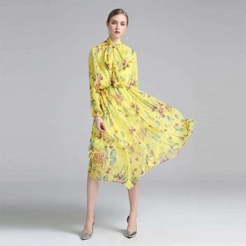 Womens Print Silk Dress Full-Sleeve Bow mid-calf-length
