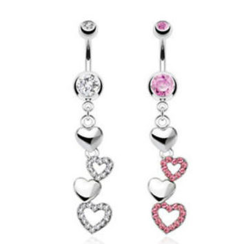 STEEL PAVED GEMS TRIPLE HEART NAVEL BELLY RING DANGLE BUTTON PIERCING B687