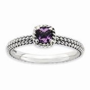 Sterling Silver Checker-cut Amethyst Antiqued Ring
