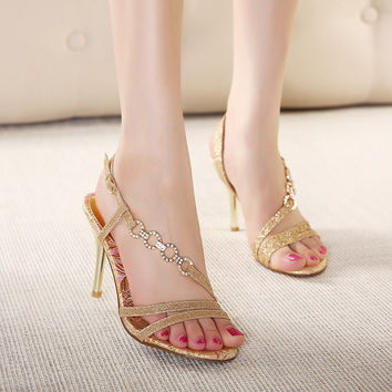 tndnw 2017 lady Nude High Heels Sandals shoes Women Ankle Strap Summer Dress Shoes sexy Woman Open Toe Sandals fashion