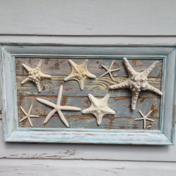 Starfish Wall Art on Reclaimed Wood/Beach House Art/Seashell Home Decor