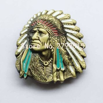 2017 Native American Indian Warrior Chief Suitable For 4cm Wideth Belt Western Metal Buckles For Men