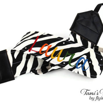 Personalized Rainbow Zebra Camera Strap, DSLR Camera Strap, Canon, Nikon, Custom Camera Strap