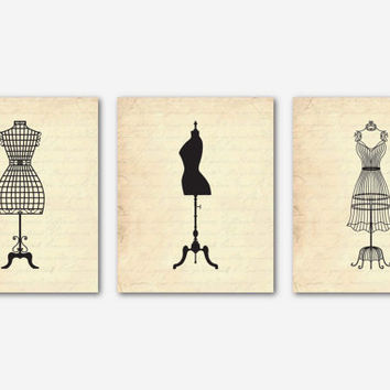 Vintage French Mannequin Silhouettes - Fashion Wall Art Trio - on French Script, Vintage, Chalkboard