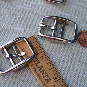 Double Bar Buckle, Medium Nickel Plated, Zinc Die Cast Buckle. New and never used.