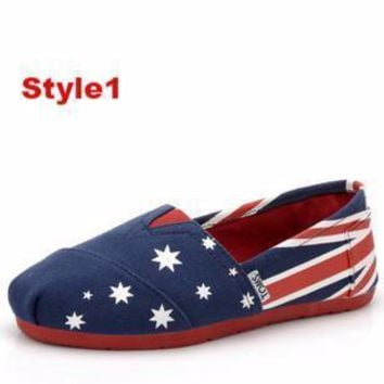 TOMS Men Women Fashion Star Flag Style FLAT SHOES CLASSICS FLAT TOMS SHOES
