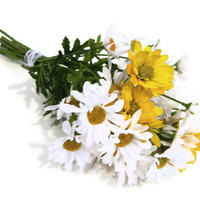 SALE Wildflower Daisy Bouquet, white, yellow, autumn, fall, summer, spring, lace, bridal,  brides, silk wedding flowers, artificial