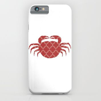 CRAB SILHOUETTE WITH PATTERN iPhone & iPod Case by deificus Art