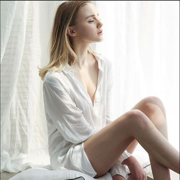 Women sexy simple nightgowns white color shirt collar button sleep dress softy cotton material for ladies