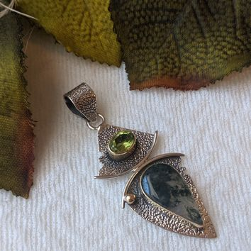 Unique Artisan Sterling Silver 14K Gold Moss Agate Peridot Pendant