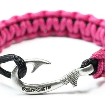 New Slim Cobra Braid Fish Hook Bracelet (Fuchsia & Black)