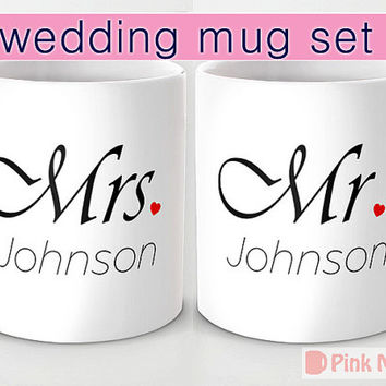 Personalized mug cup designed PinkMugNY - Wedding 2 mug set - Mr and Mrs - Custom Last Name