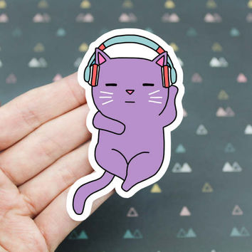 Headphones Sticker, Cat Headphones Sticker, Cat Listening To Music Vinyl Sticker, Laptop Sticker, Rave Cat Sticker, Cat Lover Sticker