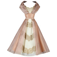 Vintage 1950's Organza and Lace Cocktail Dress