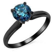 .61ct Blue Round Diamond Solitaire Engagement Ring 14k Black Gold