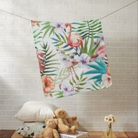 Flamboyant Flamingo Tropical nature garden pattern Receiving Blanket