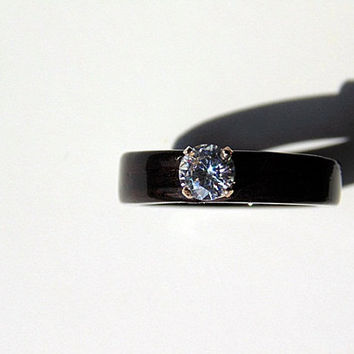 Ebony Wood Engagement ring moissanite bentwood wedding ring