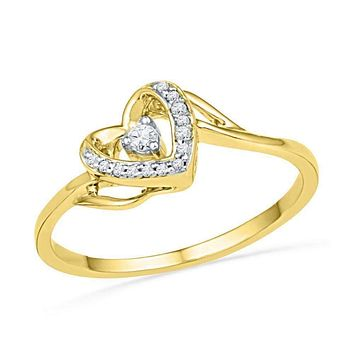 10kt Yellow Gold Women's Round Diamond Heart Love Promise Bridal Ring 1/12 Cttw - FREE Shipping (US/CAN)
