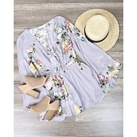 Final Sale - A Love Like This Romper - Floral Ice Grey