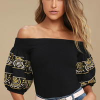 Free People Rock With It Black Embroidered Off-the-Shoulder Top