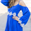 Wishing Well Royal Blue Open Shoulder Dress