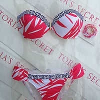 New Victoria's Secret Very Sexy Bandeau Bikini Set 36DD M Greek Key