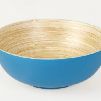 Coiled bamboo footed salad bowls, blue