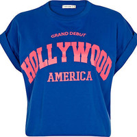 Blue Hollywood print boxy cropped t-shirt
