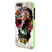 Floral Sugar Skull iPhone 5 Case Framed Green