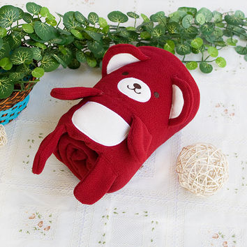 Happy Bear Dark Red Embroidered Applique Coral Fleece Baby Throw Blanket in 42.5 by 59.1 inches