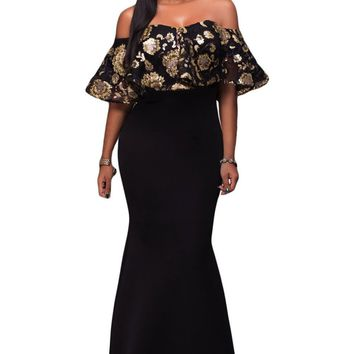 Chicloth Black Gold Sequins Ruffle Strapless Long Dress