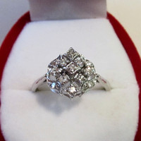 Fabulous Vintage Diamond Cocktail ring in 14k White Gold