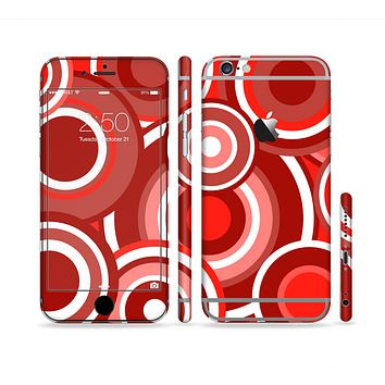 The Red and White Layered Vector Circles Sectioned Skin Series for the Apple iPhone 6/6s Plus