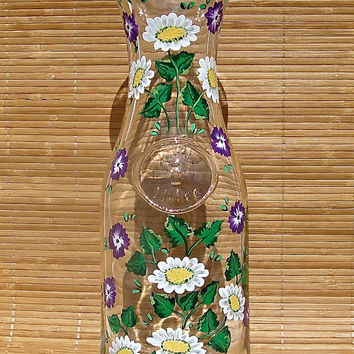 Hand Painted Glass Carafe With Daisies And Purple Flowers