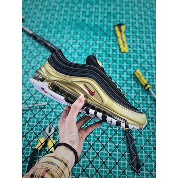Nike Air Max 97 Qs Metallic Pack Black Gold Sport Running Shoes