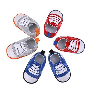 Newborn Baby Girls Boys Shoes Soft Sole Crib Cotton Canvas Shoes Infant Toddler Kids Sneakers First Walker
