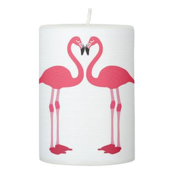 flamingo-birds pillar candle